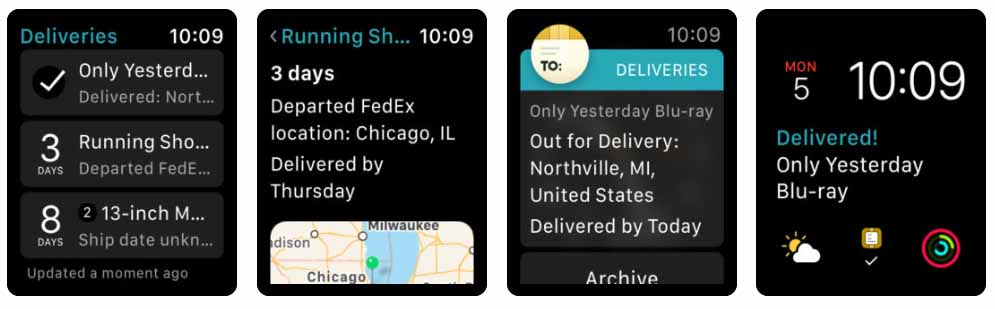 Deliveries a package tracker Aplicativos para Apple  Watch 40 Melhores Aplicativos para Apple Watch ! Deliveries a package tracke