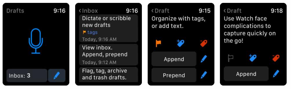 Drafts 5 Capture ‣‣ Act Aplicativos para Apple  Watch 40 Melhores Aplicativos para Apple Watch ! Drafts 5 Capture        Act